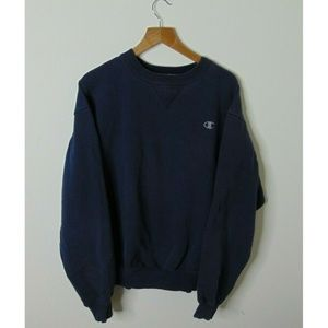 Champion L Pullover Crewneck Sweatshirt Navy Blue